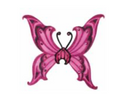 Adult Fantasy Angel Wings - Hot Pink/Blk Glitter