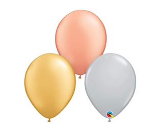 Tricolor Metallic Assortment 11″ Latex Balloons