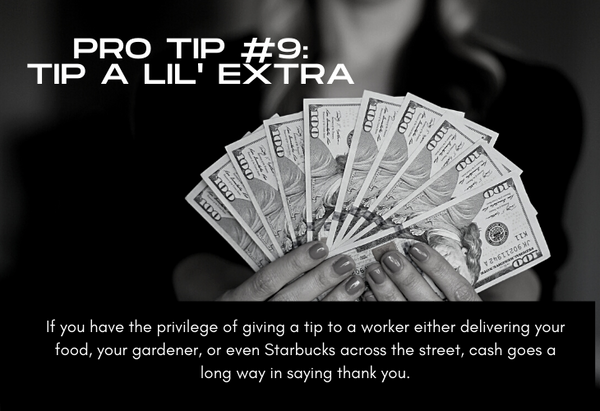 Pro Tip #9 Tip a Little Extra, photo of money in hands