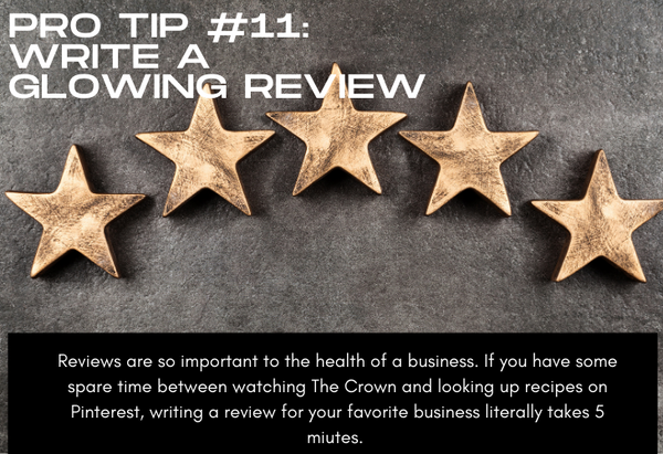 Pro Tip #11 Write a Glowing Review, photo of 5 golden stars