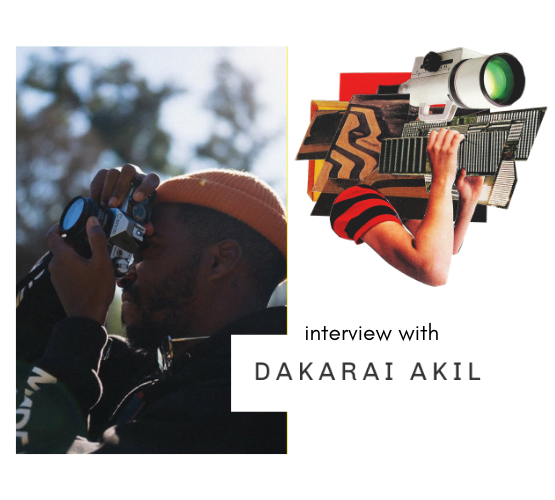 Interview with Dakarai Akil, photo of man outside with a camera