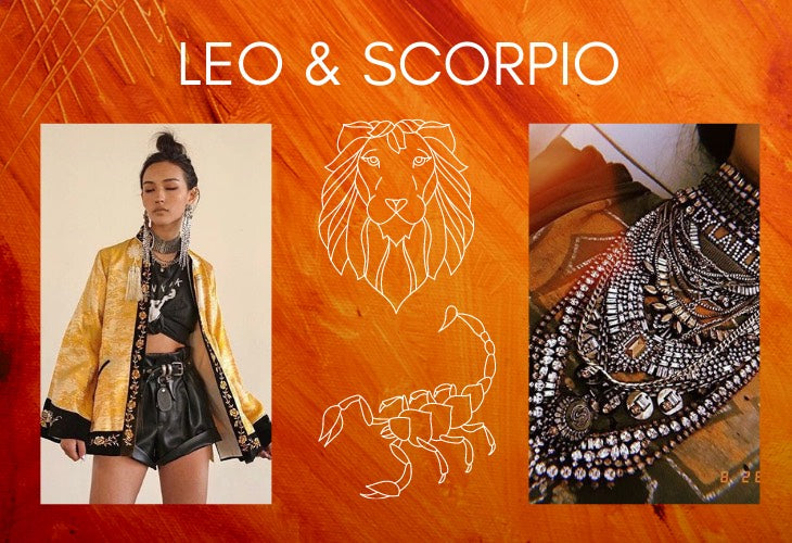 Leo and Scorpio zodiac signs on orange background with lifestyle image including DYLAN LEX jewelry