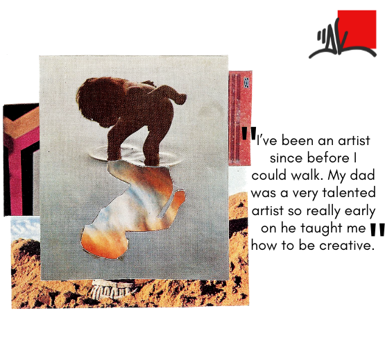 DK art collage and quote: I've been an artist since before I could walk