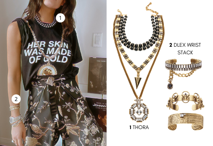 Lifestyle image of DYLAN LEX Thora necklace and DYLAN LEX wrist stack