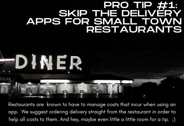 Pro Tip #1 Skip the Delivery Apps for Small Town Restaurants, photo of diner at night