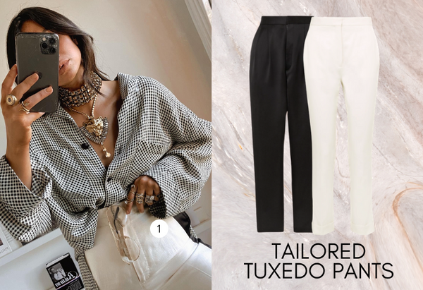 Tailored tuxedo pants in black and white with lifestyle image