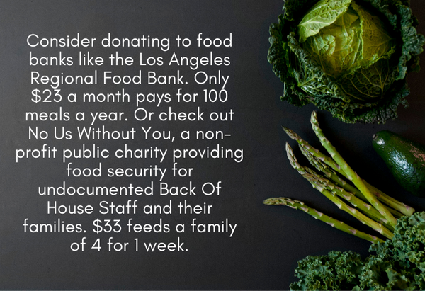 Los Angeles Regional Food Bank and No Us Without You information, photo of green vegetables