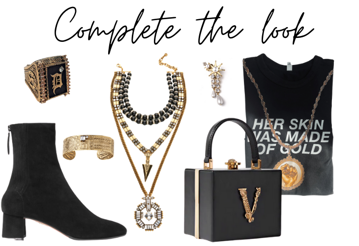 Complete the look items: boot, ring, necklace, t-shirt, bag, bracelet