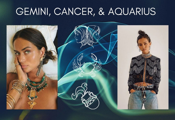 Gemini, Cancer and Aquarius on blue background with lifestyle images including DYLAN LEX jewelry