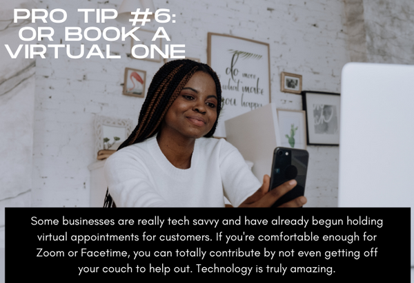Pro Tip #6 Book a Virtual Appointment, woman using technology at home