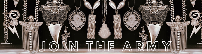 Join the Army banner with DYLAN LEX silver jewelry