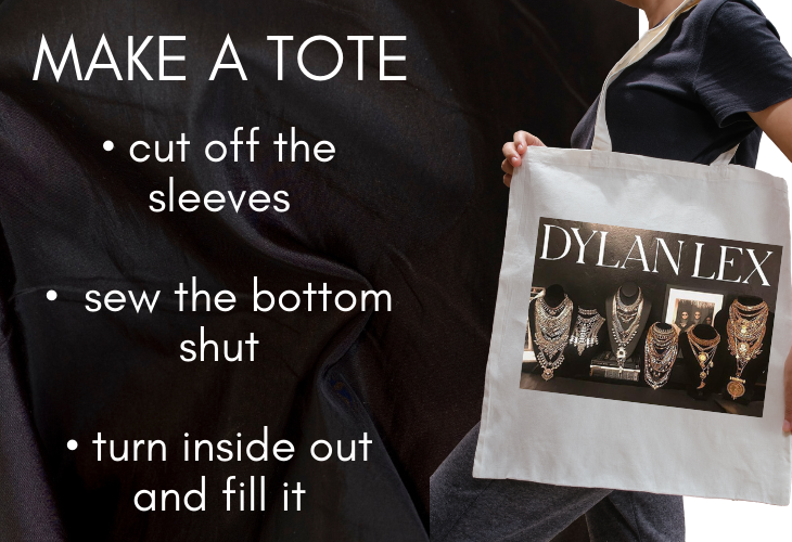 Make a Tote Tip for Upcycling Old T-shirts: cut off sleeves, sew bottom shut, turn inside out and fill it