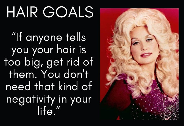 Dolly Parton in purple top 1970s with Hair Goals quote