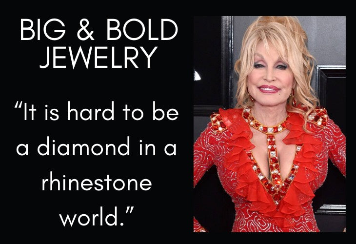 Dolly Parton in red gown with Big and Bold Jewelry quote