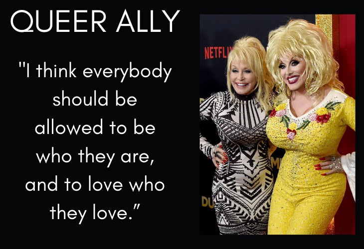 Dolly Parton with drag queen and Queer Ally quote