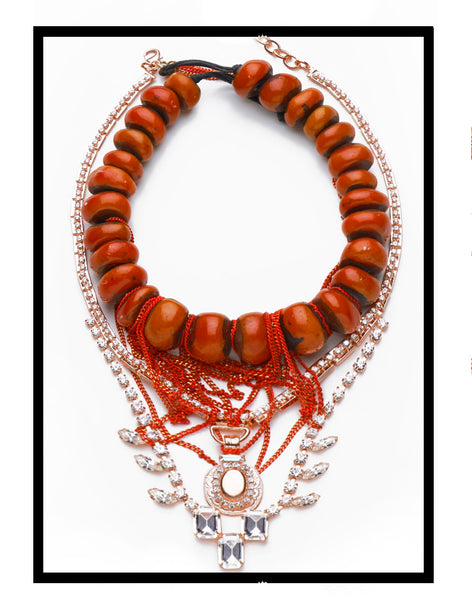 DYLAN LEX Red necklace with crystals