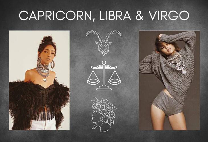 Capricorn, Libra and Virgo on gray background with lifestyle images including DYLAN LEX jewelry