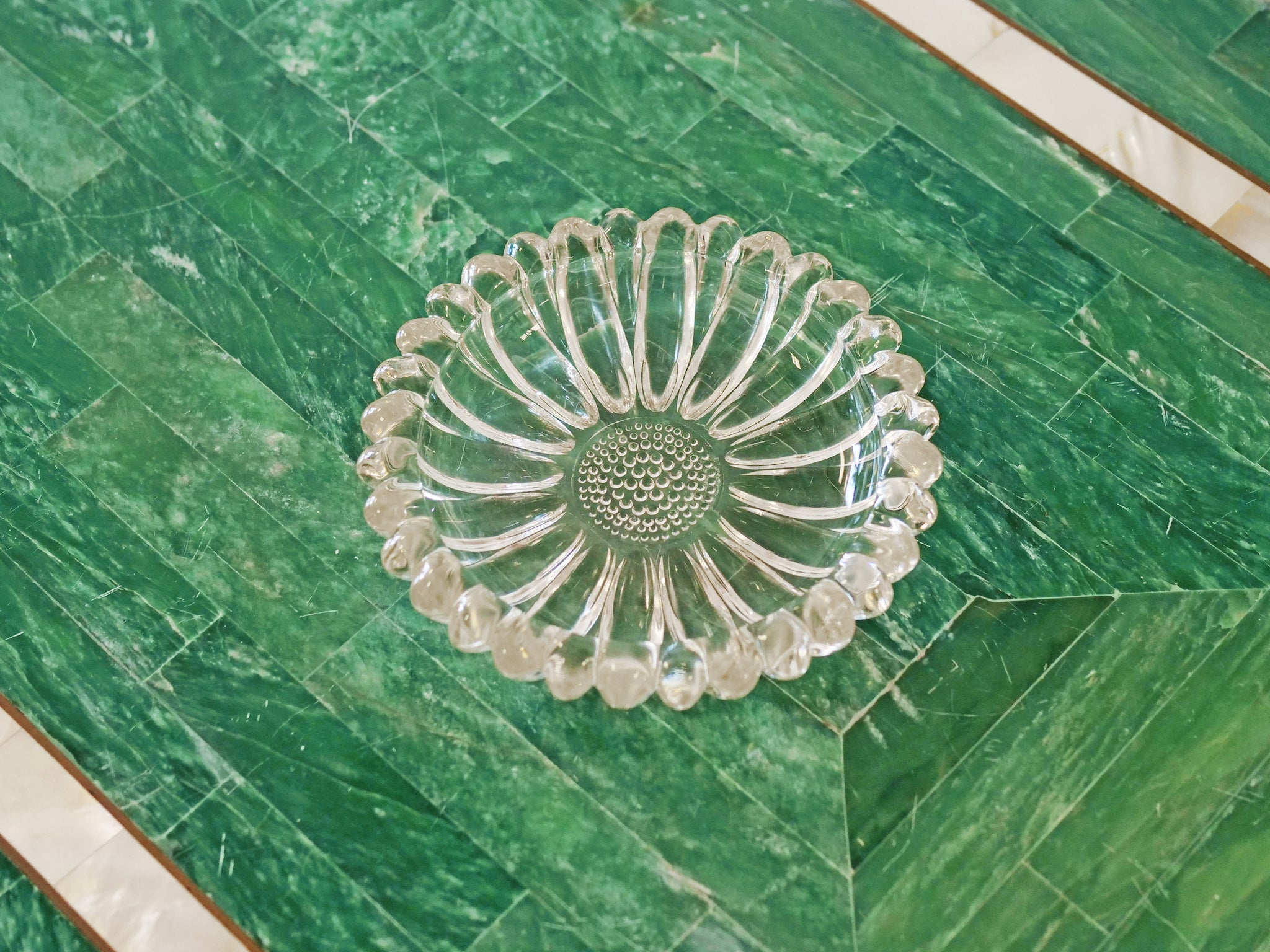 Sunflower Pressed Glass Jewelry Dish