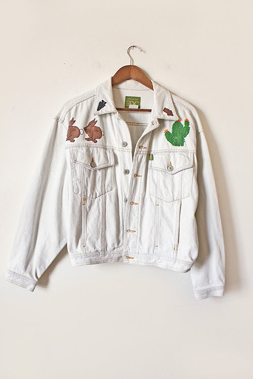 Vintage Hand Painted Southwest White Jean Jacket