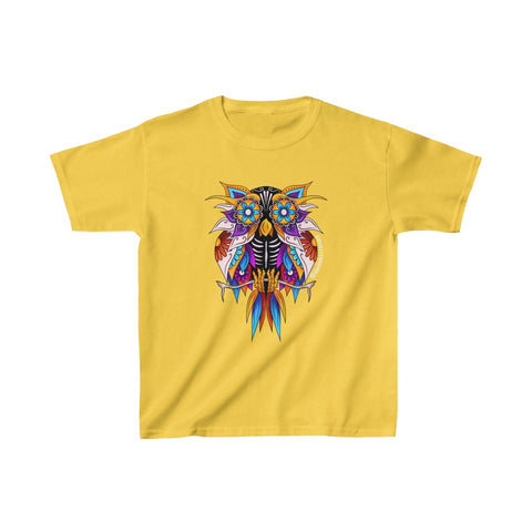 Kids Sugar Skull Owl Heavy Cotton™ Tee - Daniel Curran Art