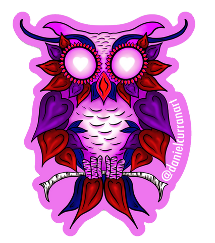 Heart Owl Pink Sticker - Daniel Curran Art