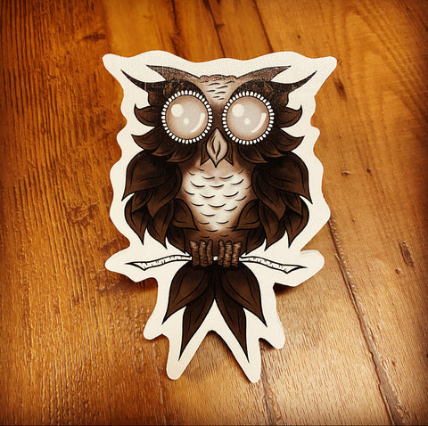 Black Owl Print on Wood (Limited Edition)