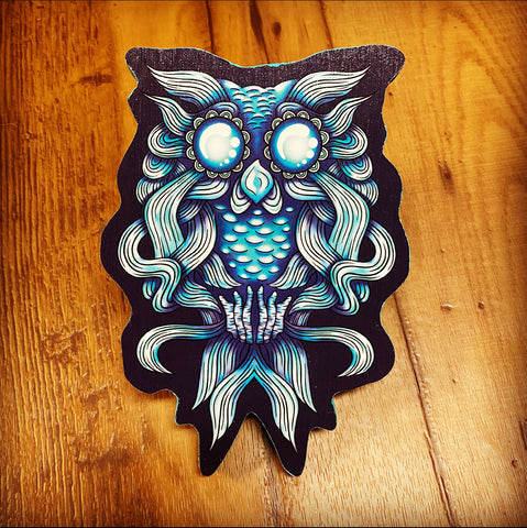 Water Owl Print on Wood (Limited Edition)