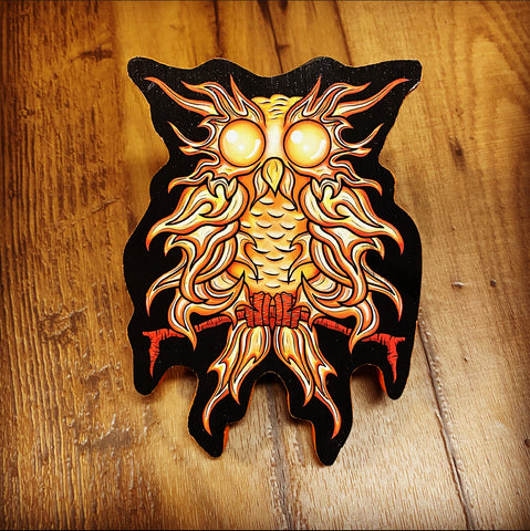 Fire Owl Print on Wood (Limited Edition)