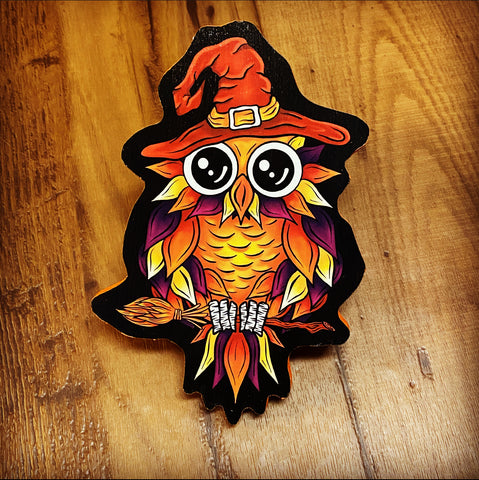 New Witch Owl Print on Wood (Limited Edition) - Daniel Curran Art