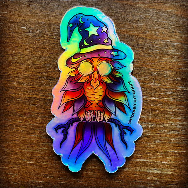 Holographic Wizard Owl Sticker