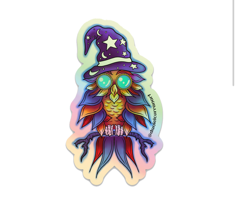 Holographic Wizard Owl Sticker - Daniel Curran Art