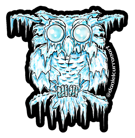 Ice Owl Sticker - Daniel Curran Art