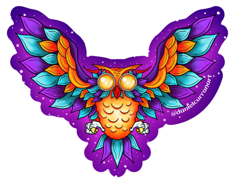 Orange Winged Owl Sticker - Daniel Curran Art