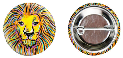 Zoom Lion Button - Daniel Curran Art