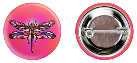Pink Dragonfly Button