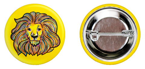 Yellow Lion Button - Daniel Curran Art