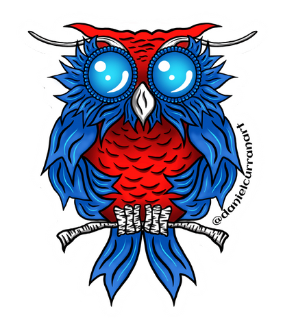 Blue Ribbon Owl Sticker - Daniel Curran Art