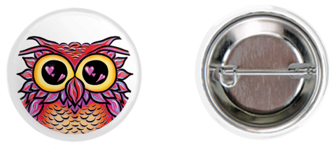 Heart Owl Button