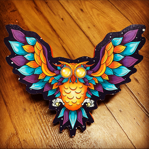 Orange Winged Owl Print on wood (Limited Edition)