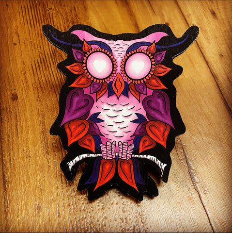 New Heart Owl Print on Wood (Limited Edition)