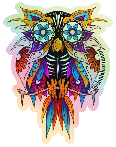 Holographic Sugar Skull Owl Sticker - Daniel Curran Art