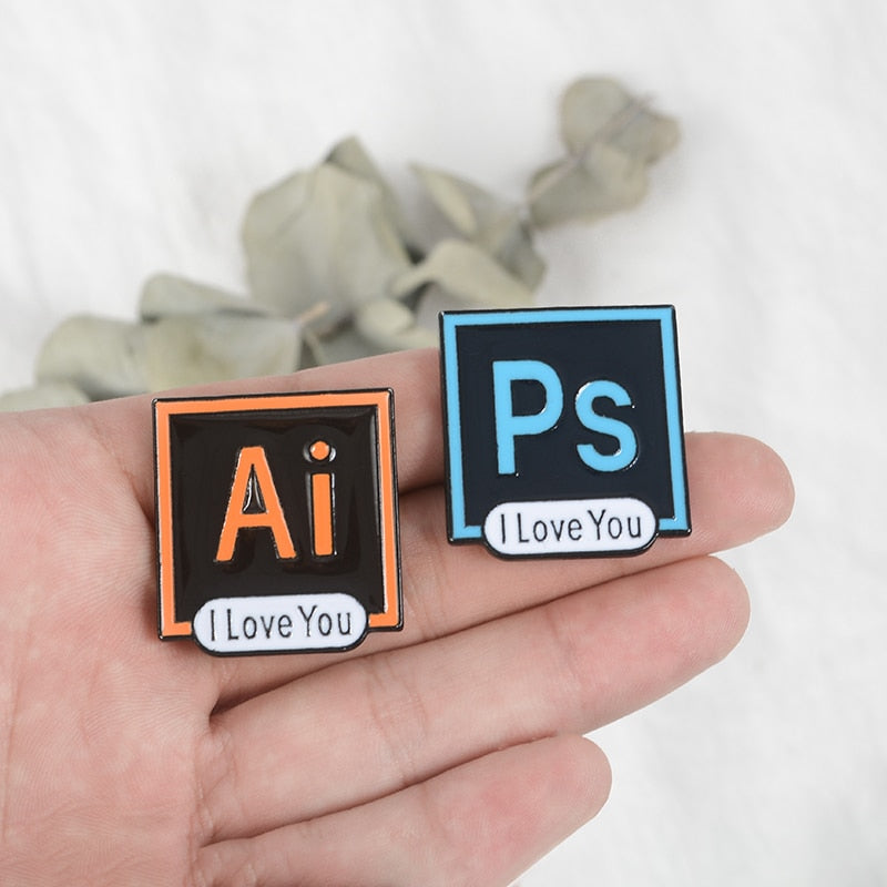 PS I Love You Adobe Photoshop Enamel Pin