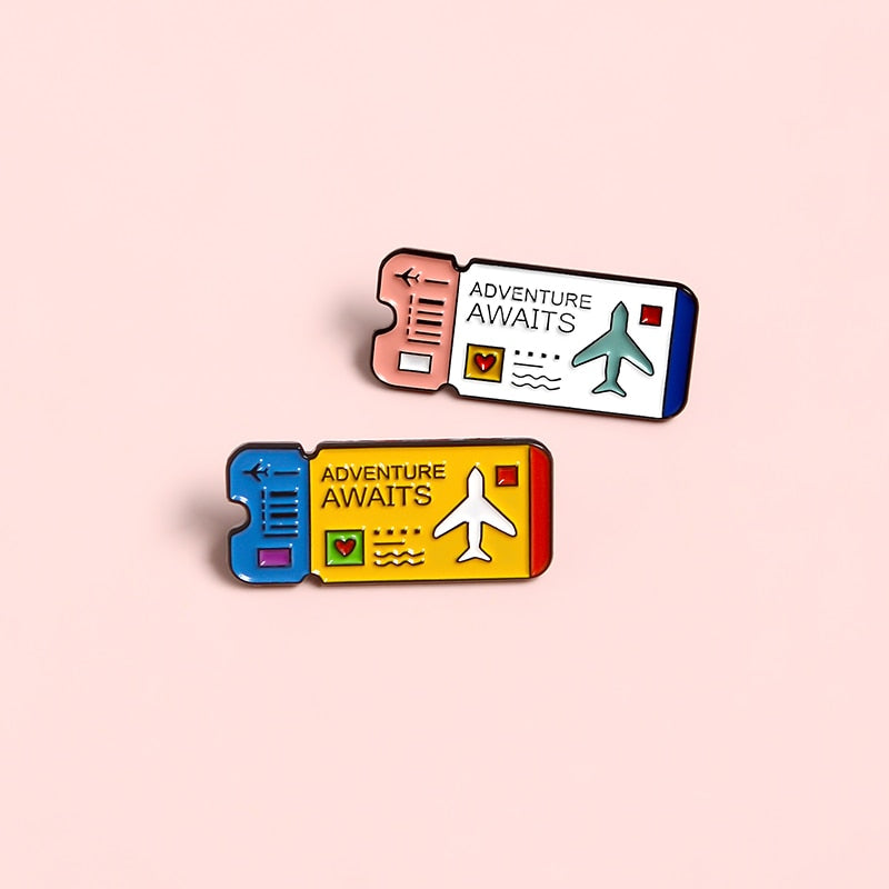 Adventure Awaits Plane Ticket Enamel Pin