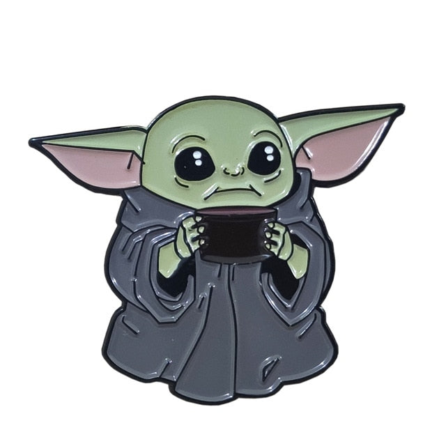 Baby Yoda Grey Enamel Pin