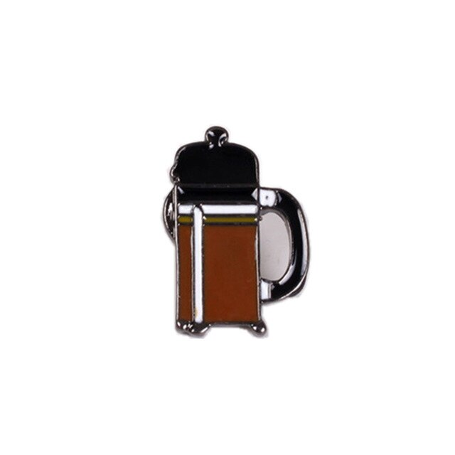 French Press Coffee Enamel Pin