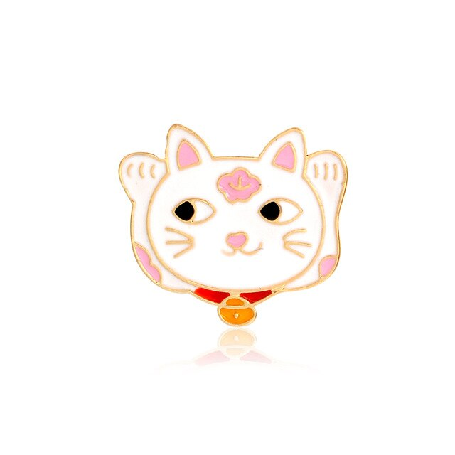 Lucky Cat Pink Enamel Pin
