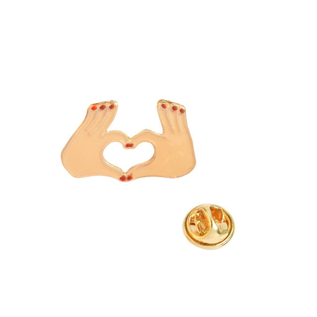 Heart Shaped Hands Enamel Pin