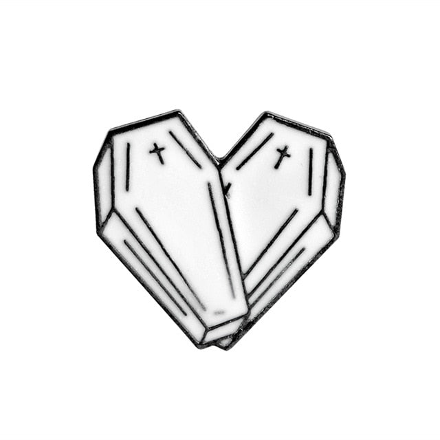 Coffin Heart Enamel Pin