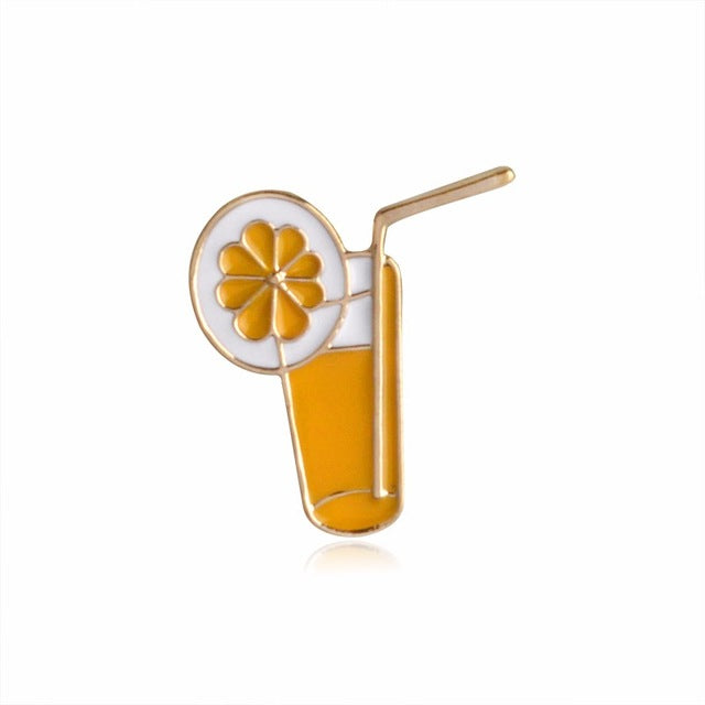 Orange Drink Enamel Pin