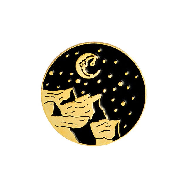 Mountain Moon Gold Enamel Pin
